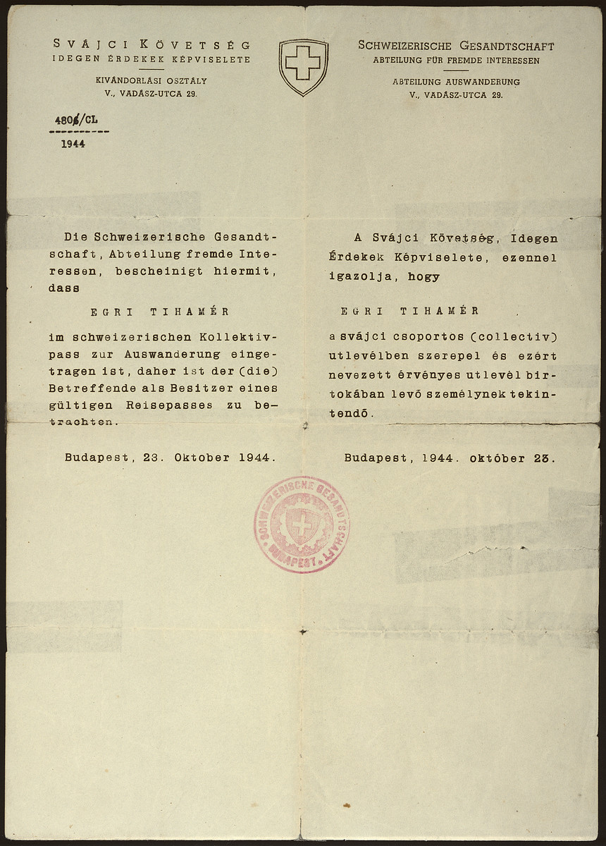 Shutzpass issued by the Swiss consulate to Tihamer Pal.