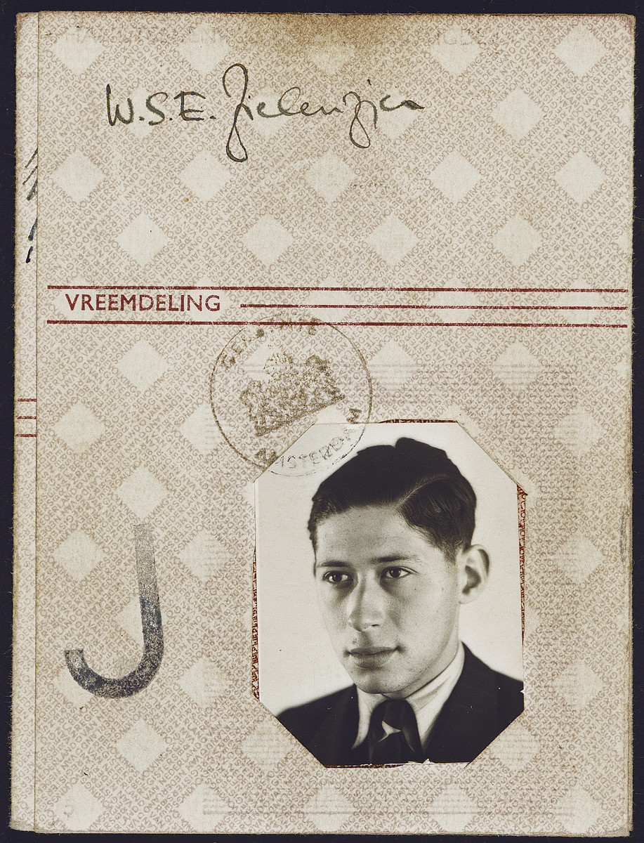 Identification card issued to Erich Zielenziger in 1941 and stamped with a red J for Jew.