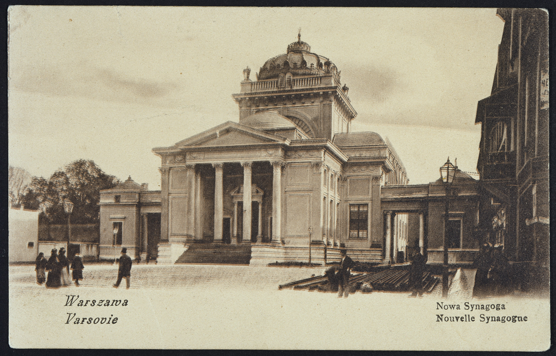 Picture postcard showing an exterior view of the new synagogue in Warsaw, Poland.