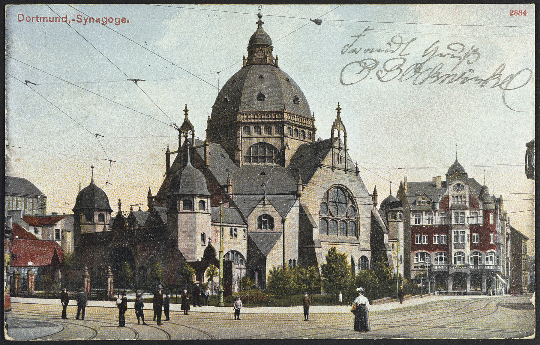 Picture postcard showing an exterior view of the synagogue in Dortmund, Germany.
