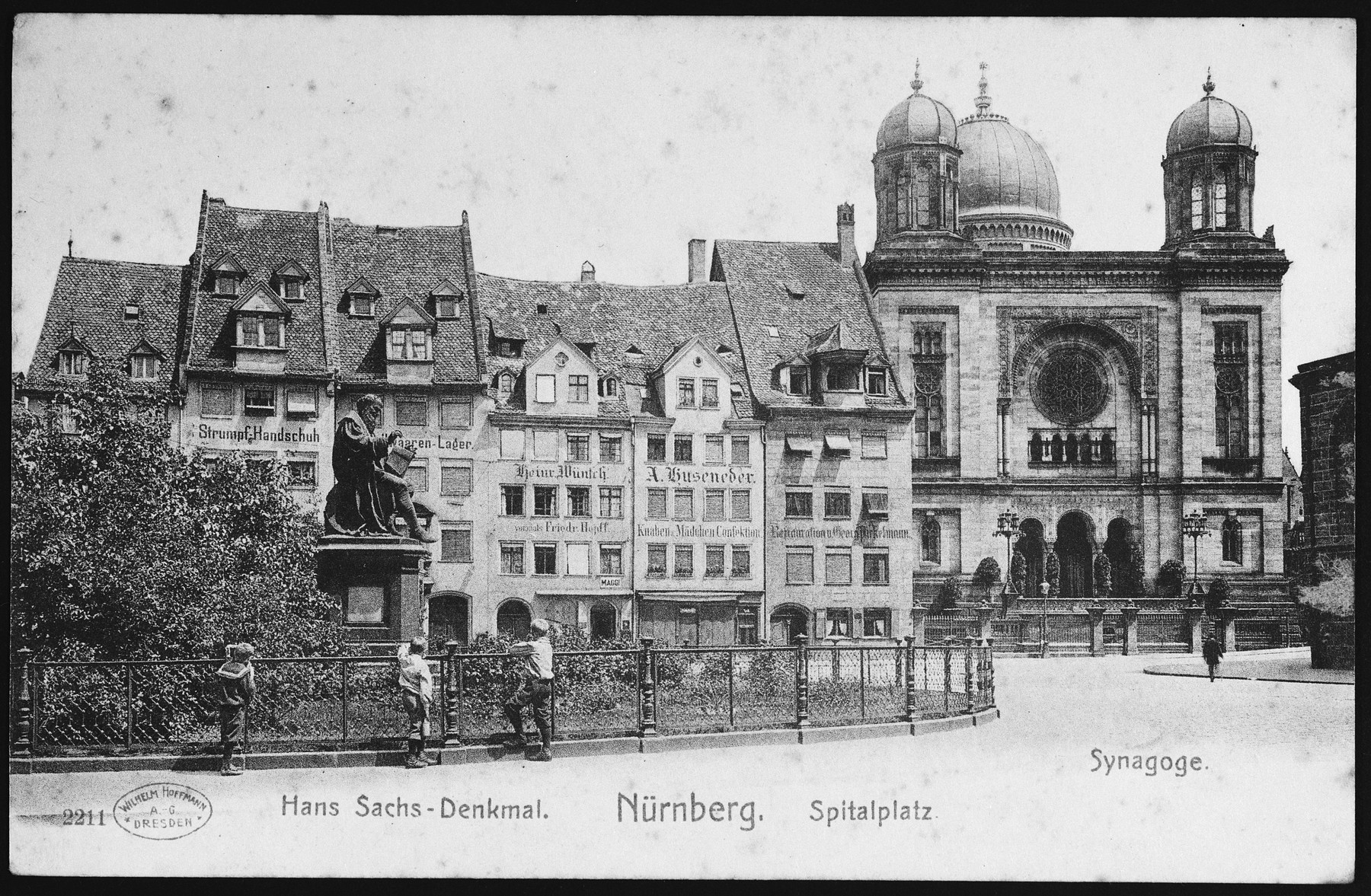 Picture postcard showing an exterior view of the synagogue in Nuremberg, Germany.