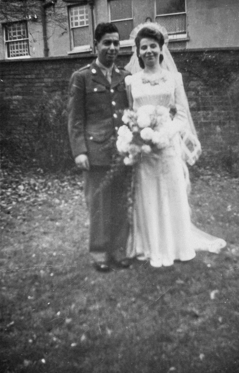 Wedding portrait of an American-Jewish serviceman and a Jewish refugee who came to England on a Kindertransport from Czechoslovkia.  Pictured are Edward and Mimi Ormond.
