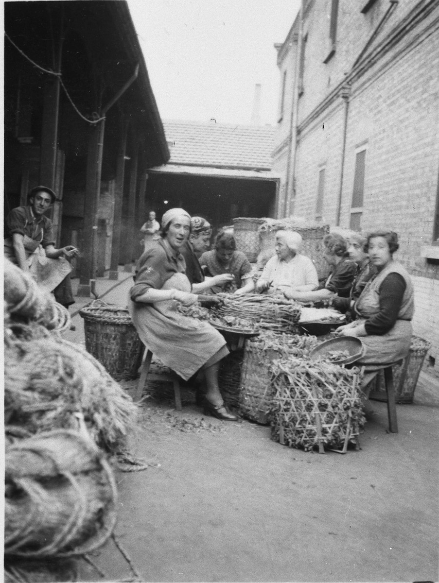 Jewish refugee women sort and prepare vegetables in a courtyard of a building in Shanghai.