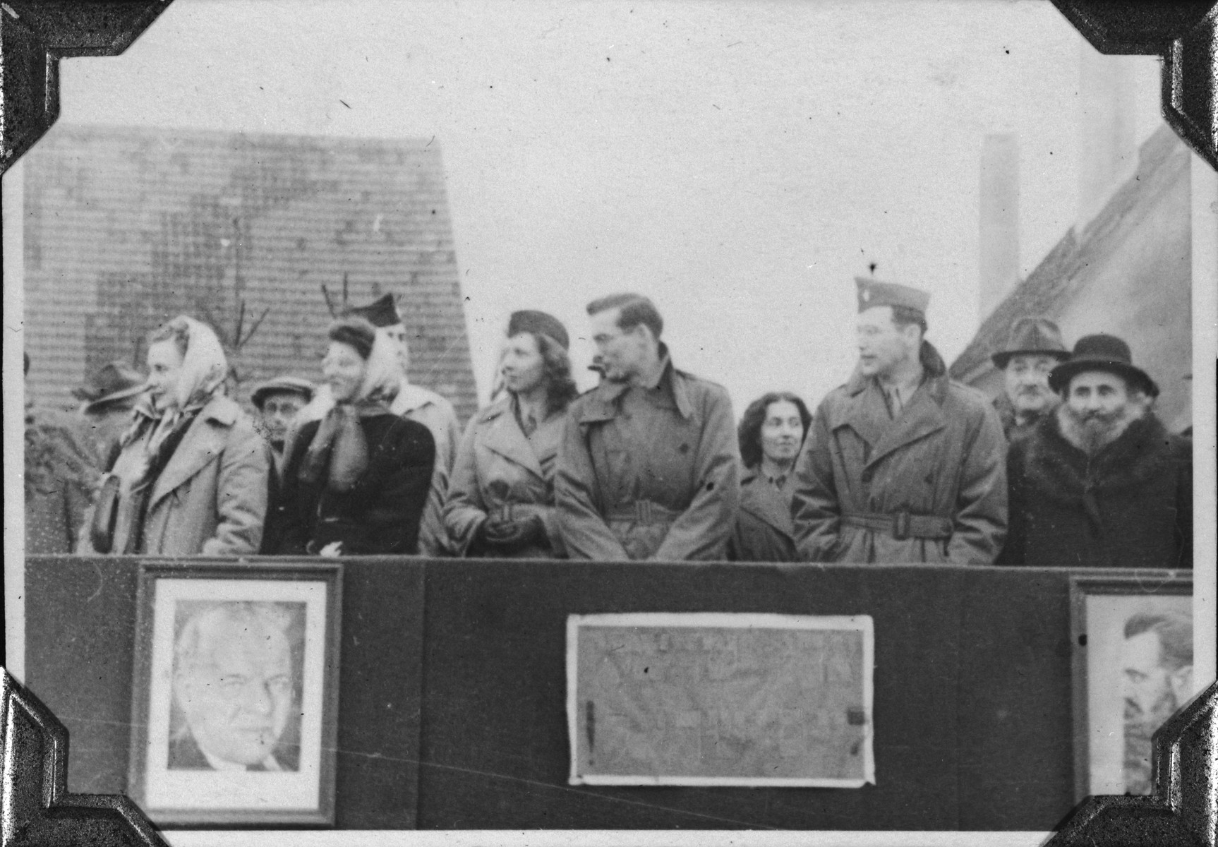 Tony and Marion Pritchard address a Zionist demonstration in the Windsheim displaced persons' camp.  Tony Pritchard addressed the crowd as head of the camp, and his wife Marion (who was not Jewish) provided simultaneous translation into Yiddish.