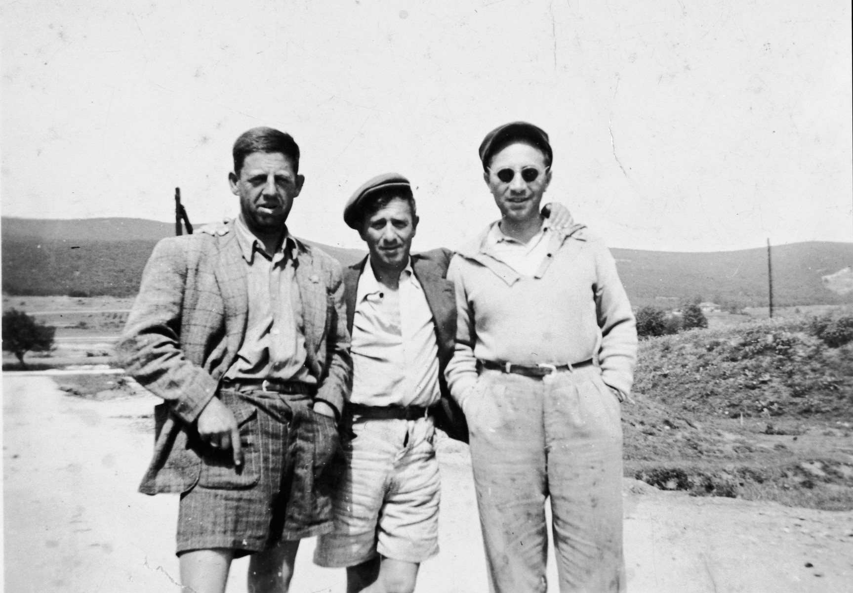 Portrait of three Jewish forced laborers in Bulgaria.  Pictured are Gabriel Avramoff (donor's father, center) and two of his co-workers.