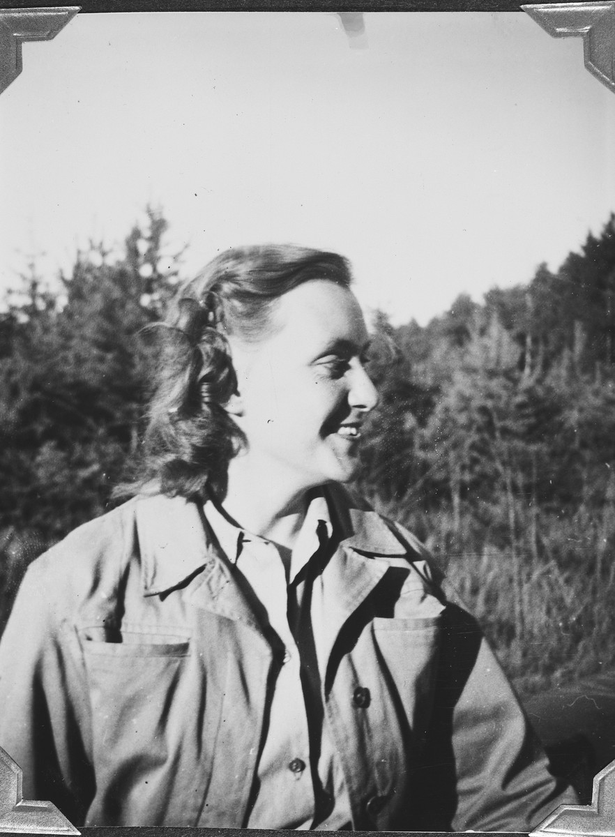 Close up portrait of Marion Pritchard in the Windsheim displaced persons' camp.