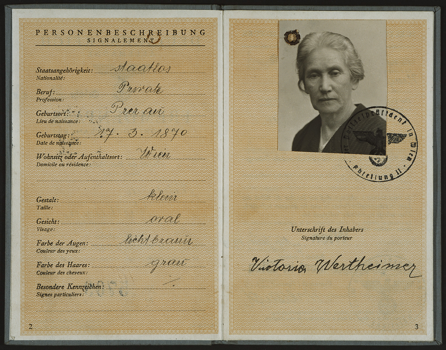 "Identification paper issued to Victoria Wertheimar (Siegmund Sobel's mother-in-law) in Vienna Austria and stamped with a Nazi seal declaring that her nationality is ""stateless"".  Mrs. Wertheimar later escaped Austria and immigrated to Shanghai."