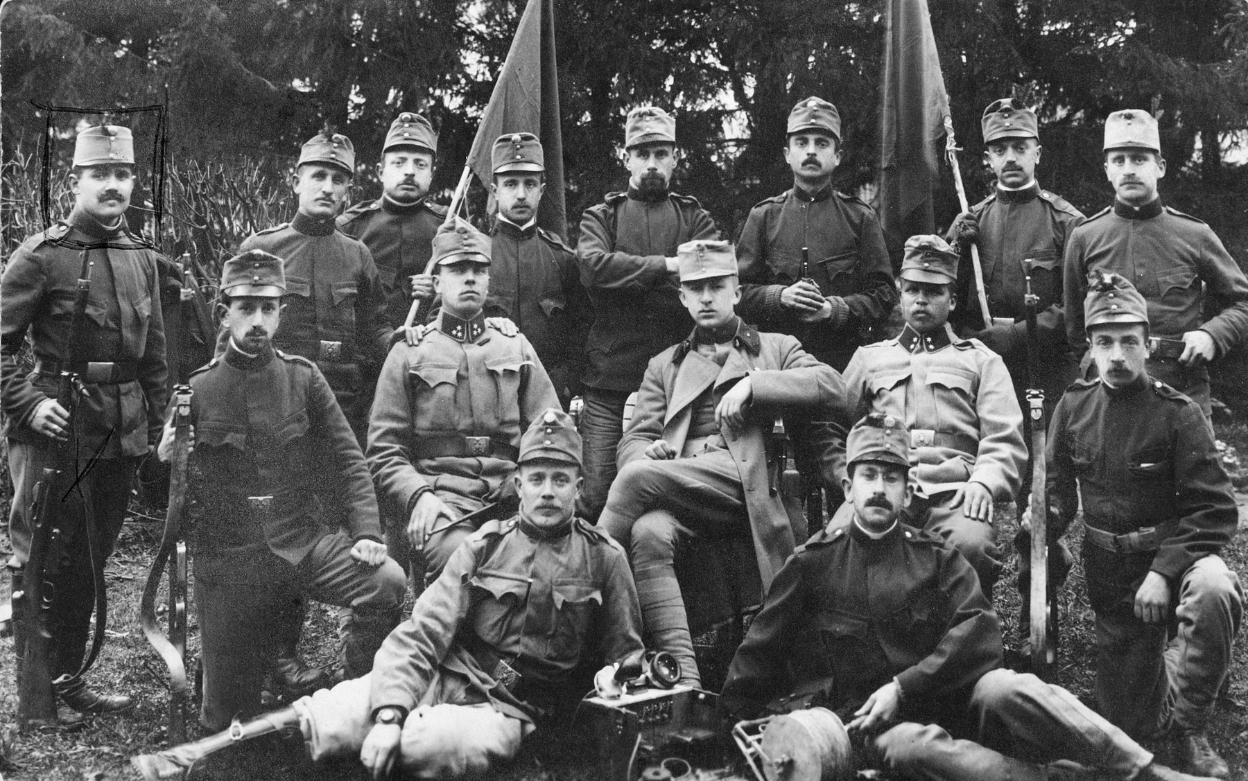 Group portrait of Austrian soldiers.  Standing on the far left is Leopold Hahn, the father of Edith Hahn.