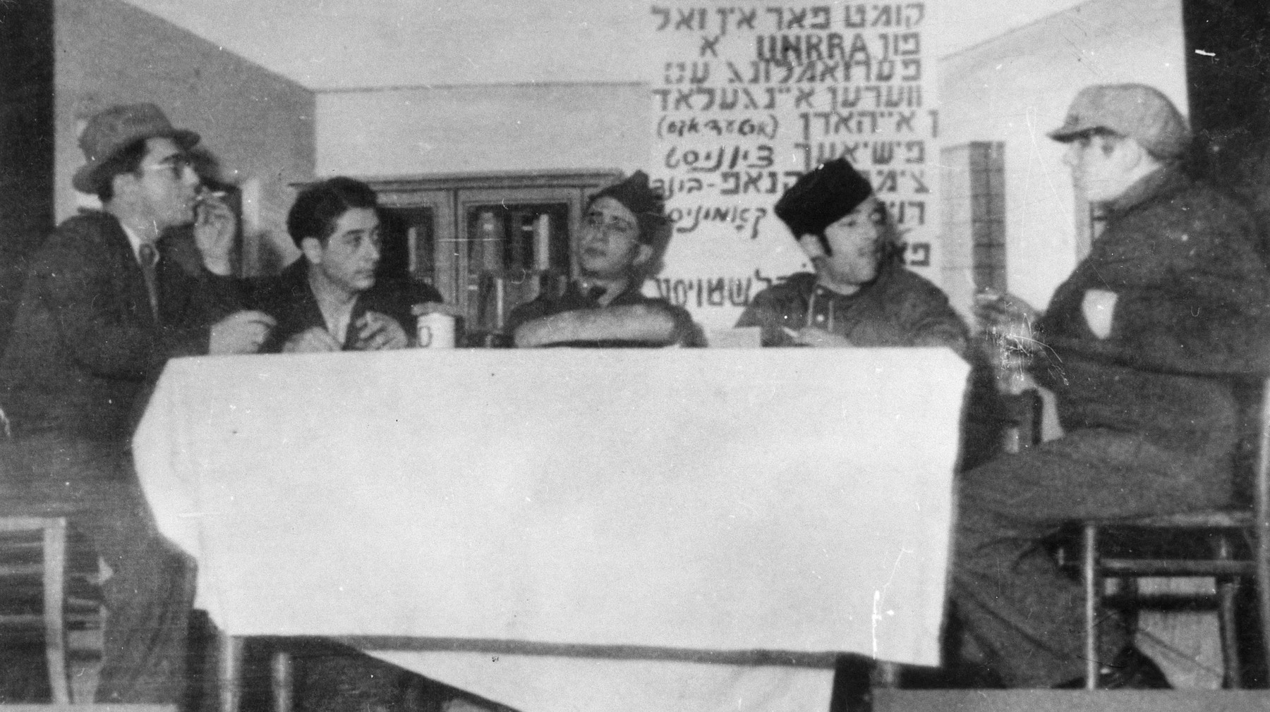 A drama group performs a play in the Zeilsheim displaced persons' camp.