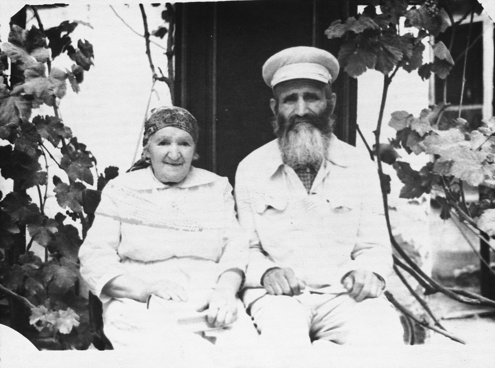 Close-up portrait of an elderly religious Jewish couple after their release from Soviet prison for their Jewish activities.