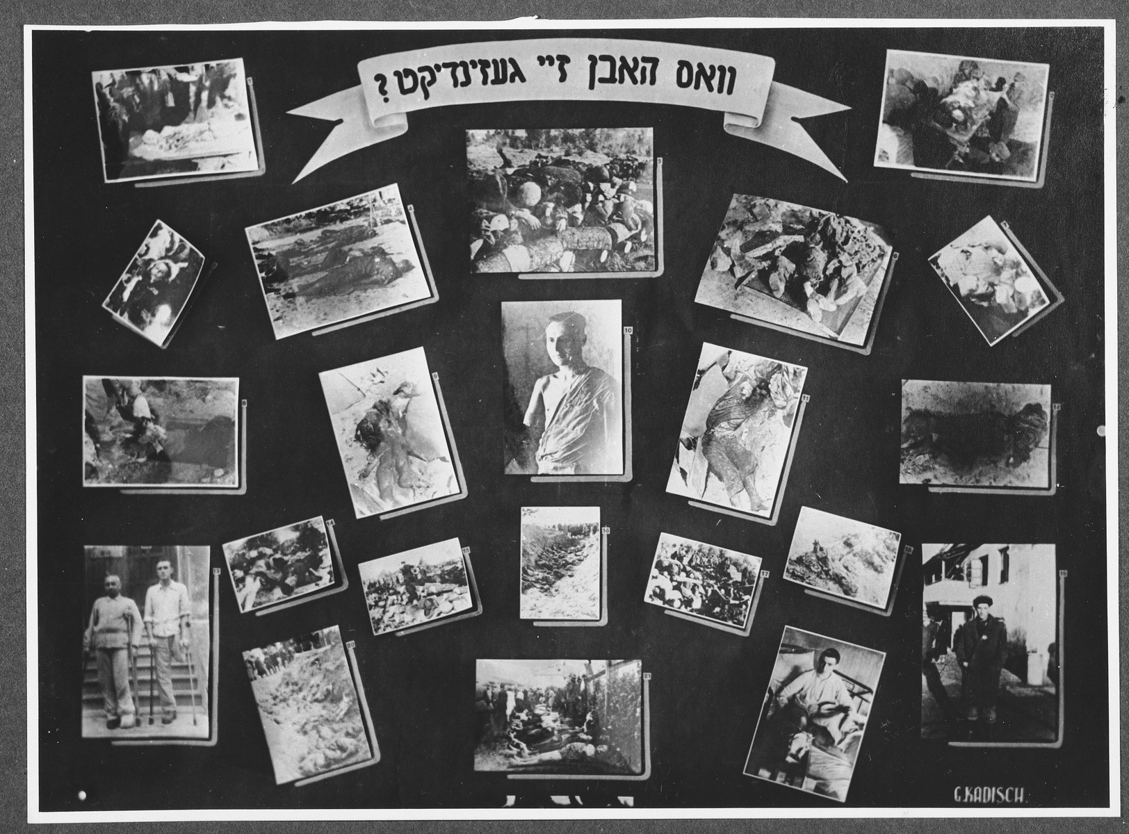 "Display panel from a photo exhibition on the Holocaust entitled, ""What Were Their Sins?"" created by photographer George Kaddishin a displaced persons' camp.  The exhibition consisted both of photographs that he shot in the Kovno ghetto as well as other photographs he collected from other ghettos and camps."