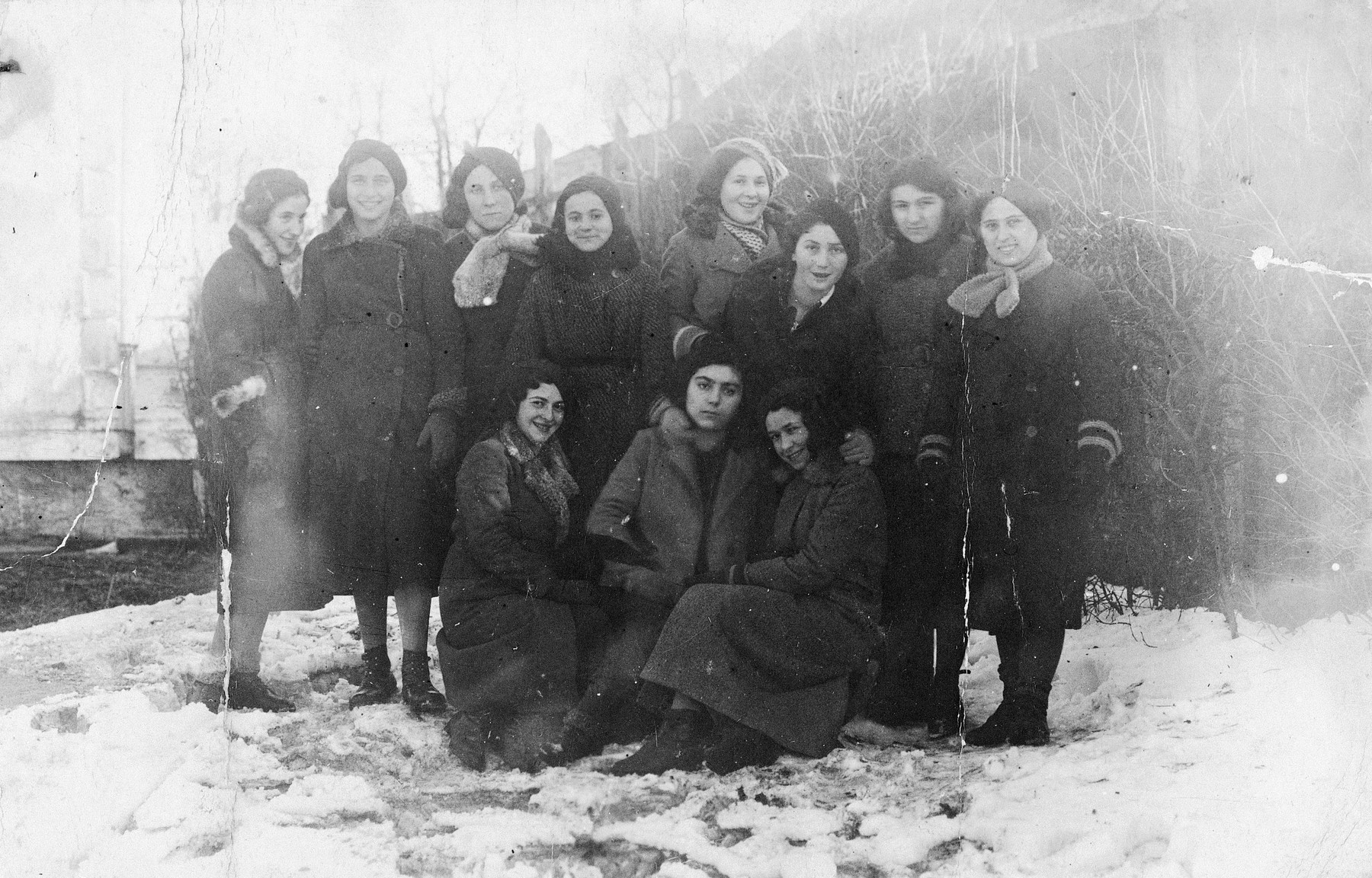 Faiga Rosenbluth (standing on the right) with a group of girl friends from a Zionist youth movement in Kanczuga, Poland.  The donor was the sole survivor.  Faiga is the daughter of Bertha and Izak Rosenbluth of Kanczuga.  During the war she was deported to Stutthof.  Most of her family was killed in Kanczuga.