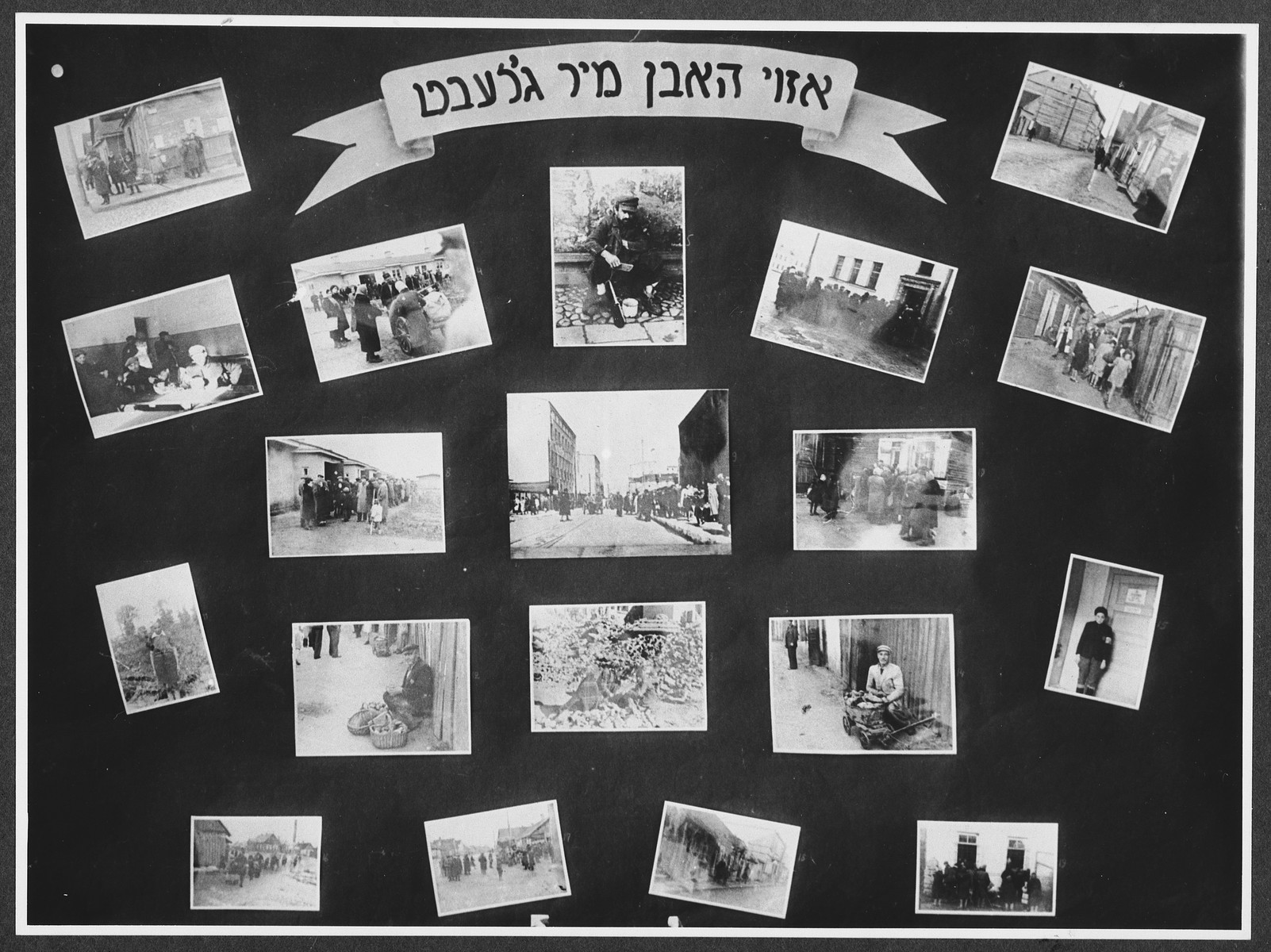 """Display panel entitled """"So we lived"""" from a photo exhibition on the Holocaust created by photographer George Kaddish in a displaced persons' camp.  The exhibition consisted both of photographs that he shot in the Kovno ghetto as well as other photographs he collected from other ghettos and camps."""