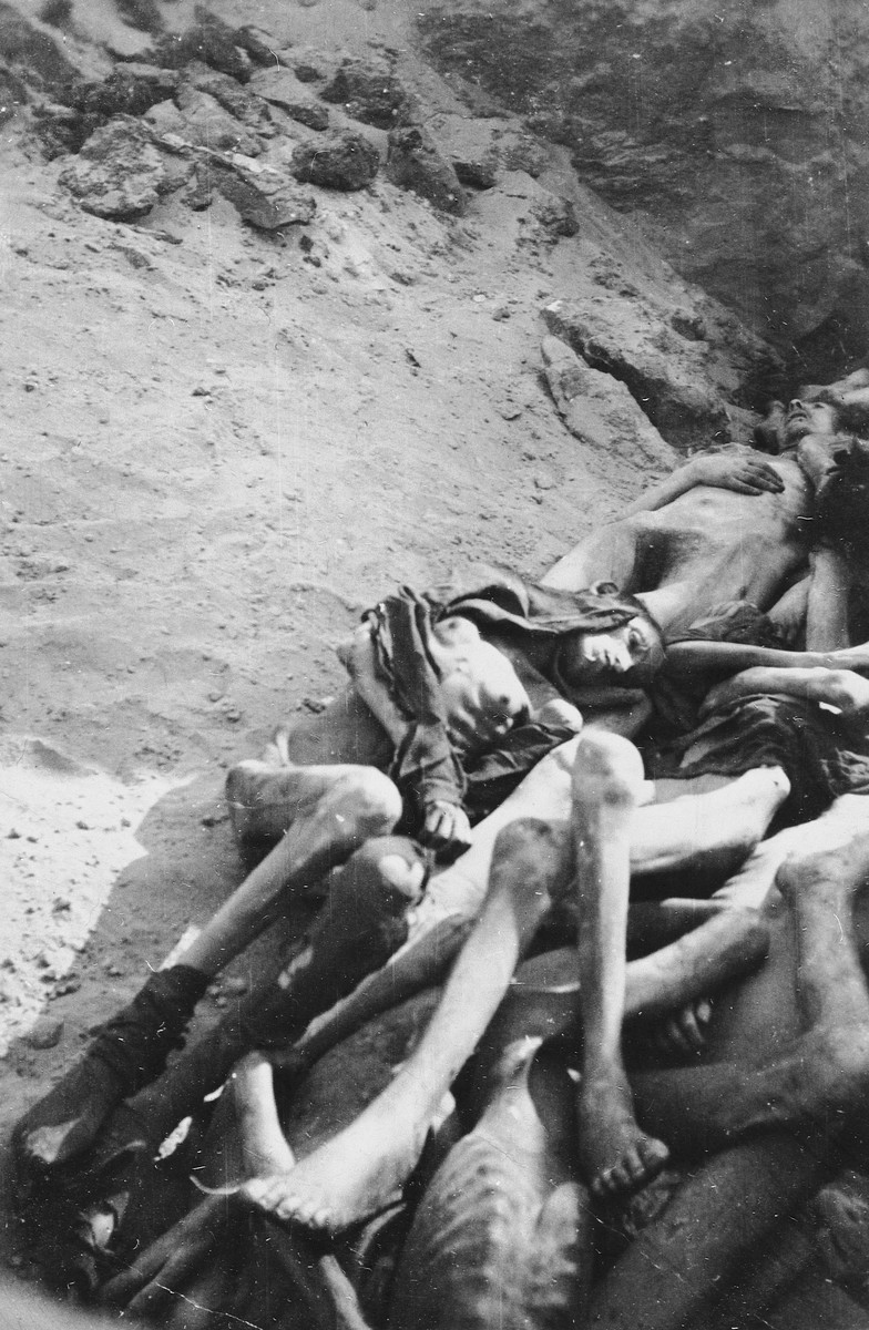 Corpses lying in a mass grave in the Warsaw ghetto.
