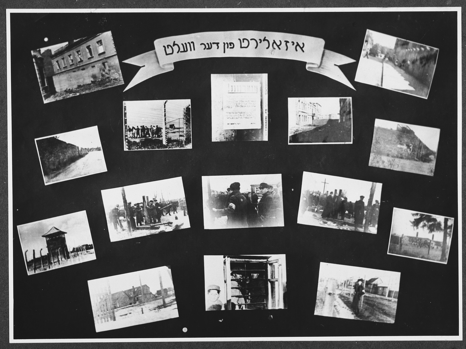 "Display panel entitled ""Isolation from the World"" from a photo exhibition on the Holocaust created by photographer George Kaddish in a displaced persons' camp.  The exhibition consisted both of photographs that he shot in the Kovno ghetto as well as other photographs he collected from other ghettos and camps."