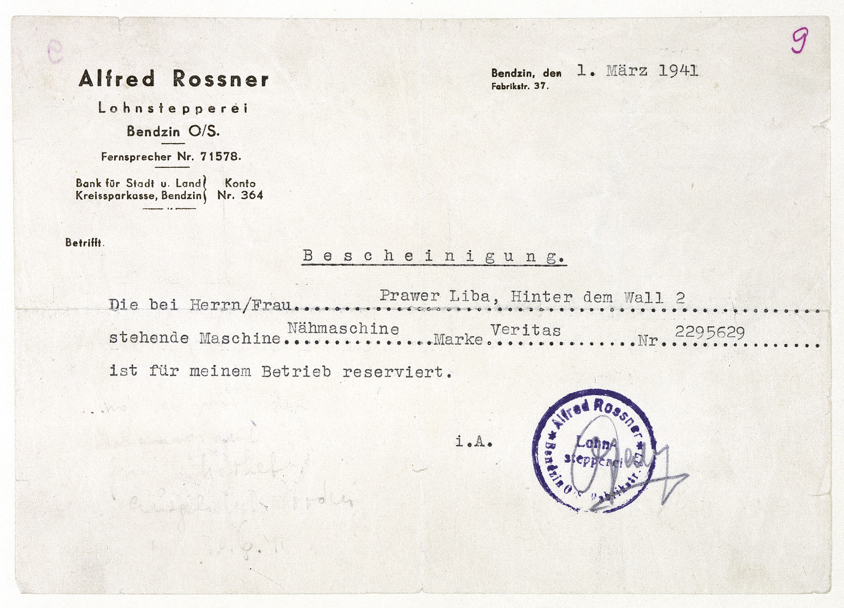 Certificate issued by Alfred Rossner, the owner of clothing workshops, stating that the sewing machine located in the apartment of Luba Prawer has been reserved for use by the Rossner workshops.