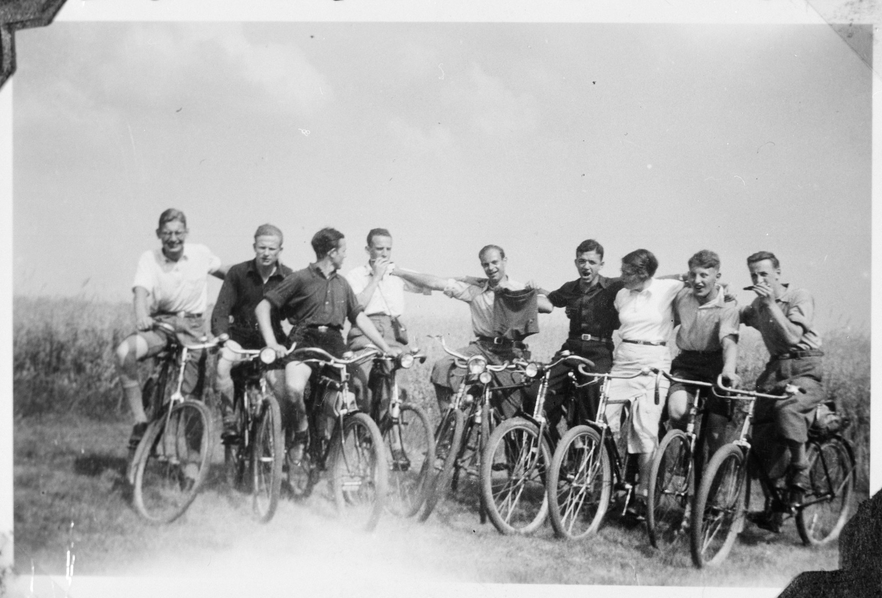 Group portrait of young students from the Gross Breesen vocational farm on a bicycle outing.   Pictured second from the right is the donor, George Landecker.