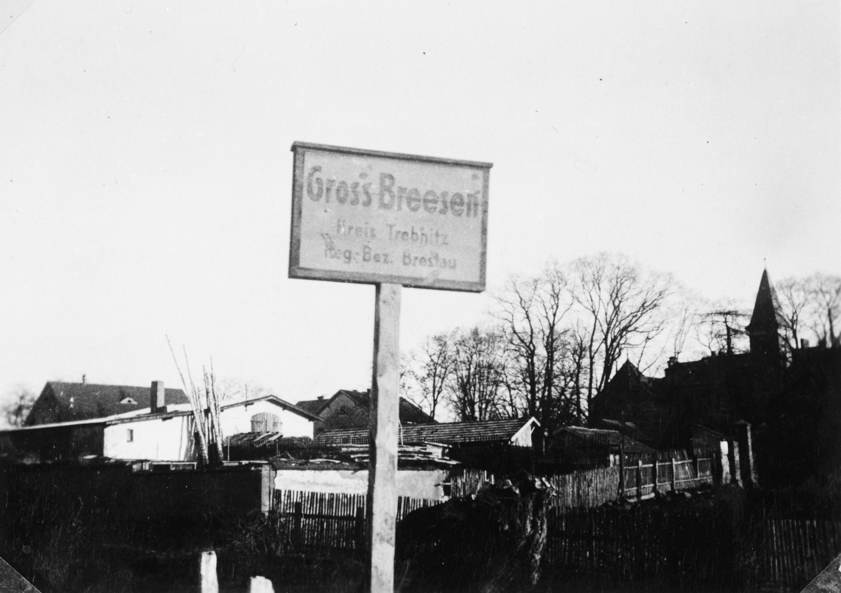 Close-up of a sign at the entrance of the Gross Breesen training farm, near Breslau.