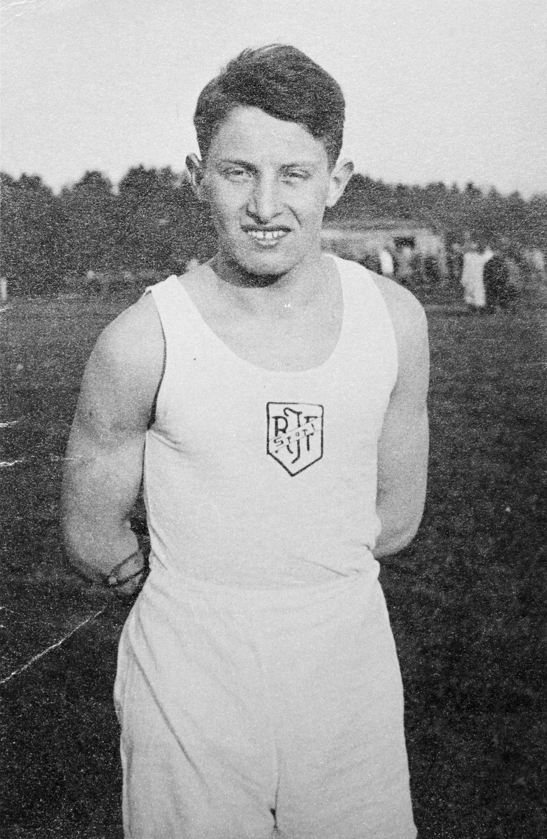 Close-up portrait of a young man at a summer camp run by the Reichsbund Juedische Frontsoldaten (RJF).   Pictured is George Landecker.