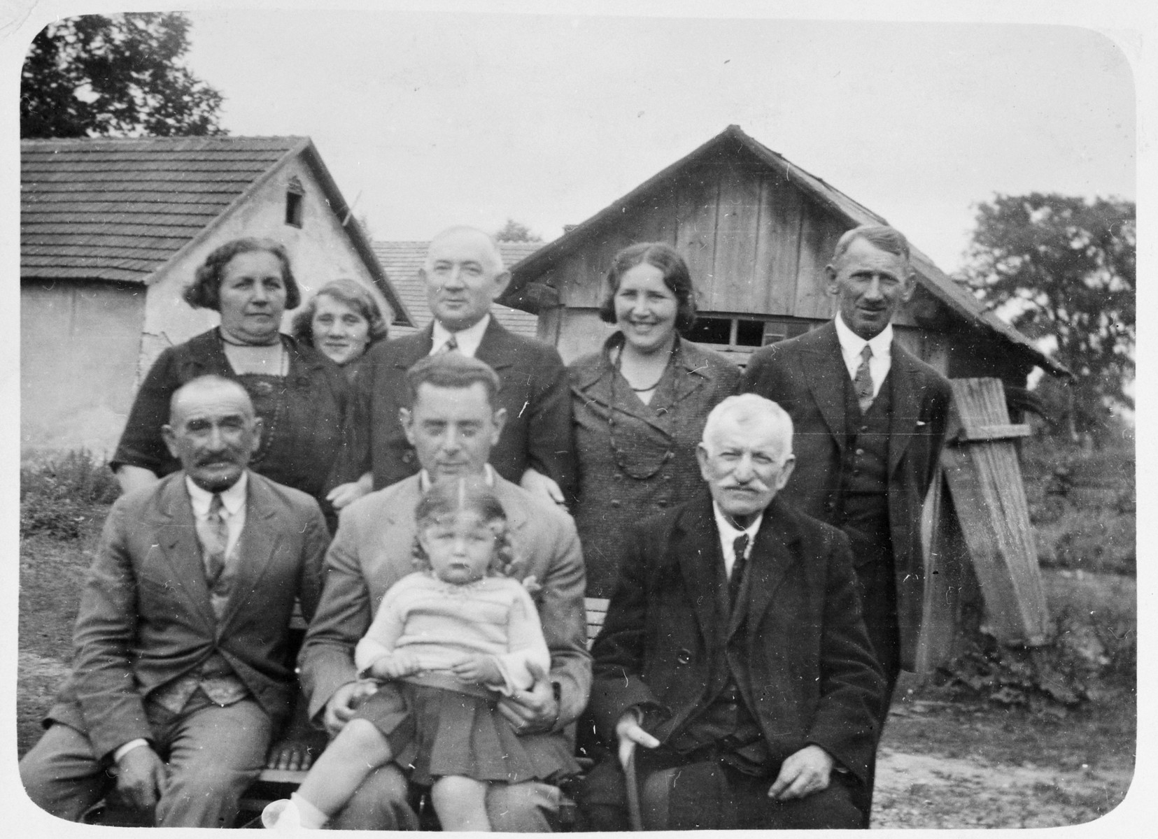 Portrait of the donor's grandparents and other extended family members in Krakow before the war.