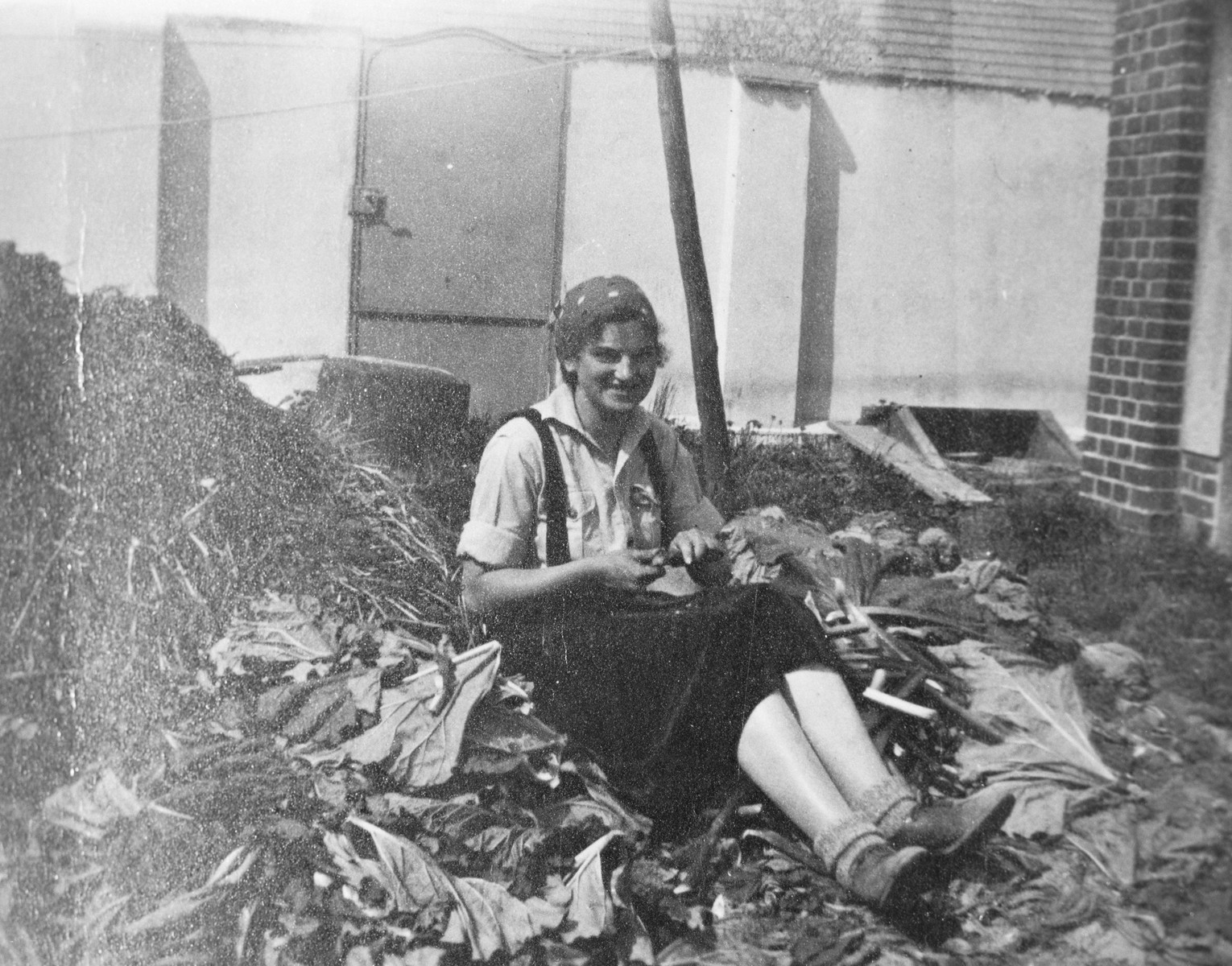 A young Jewish girl attending a vocational training in the Gross Breesen agricultural center cuts and cleans rhubarb while sitting outside.   Pictured is Marianne Clara Schueler (1916-1974), originally of Breslau, who later immigrated to the United States.