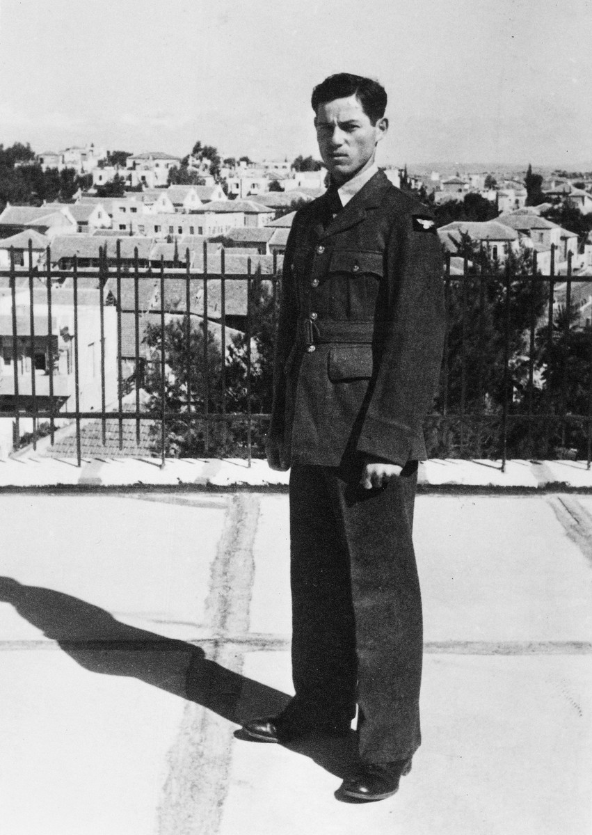 Close-up portrait of Yossi Harel after his enlistment in the British Air Force.