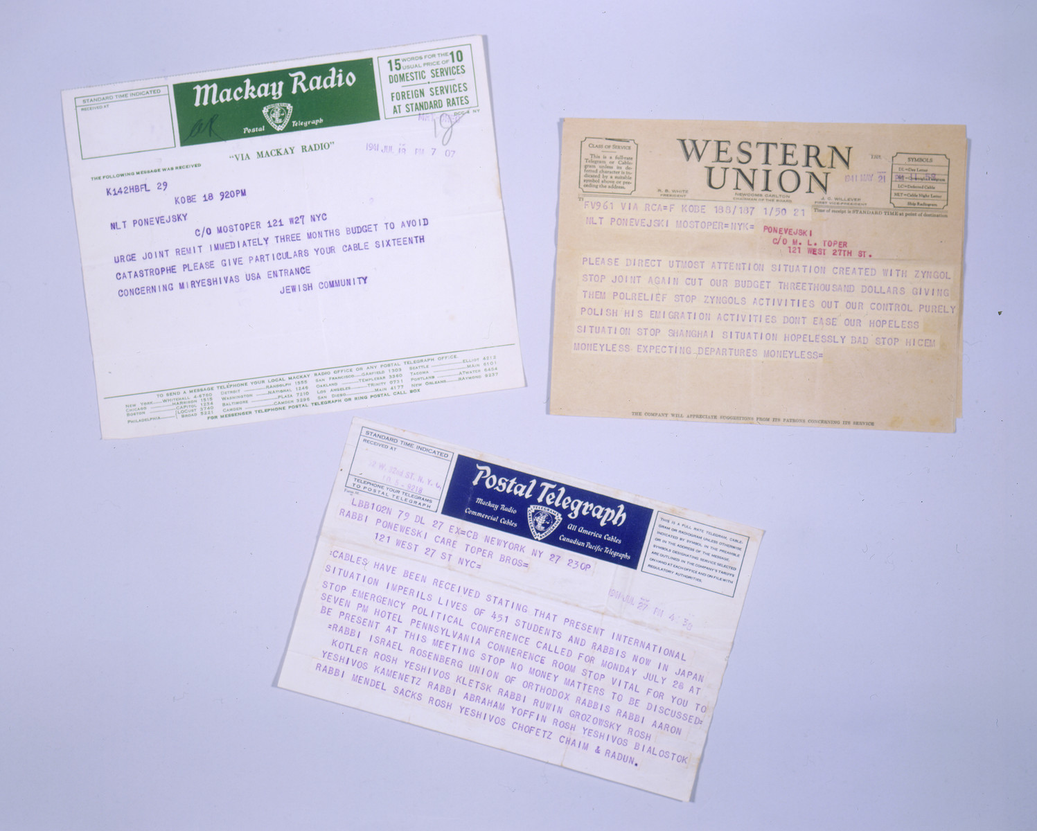 Telegrams sent to Anatole Ponevejsky, the former head of the Kobe Jewish community who had recently immigrated to America, asking for his help in securing visas for refugees in Japan.