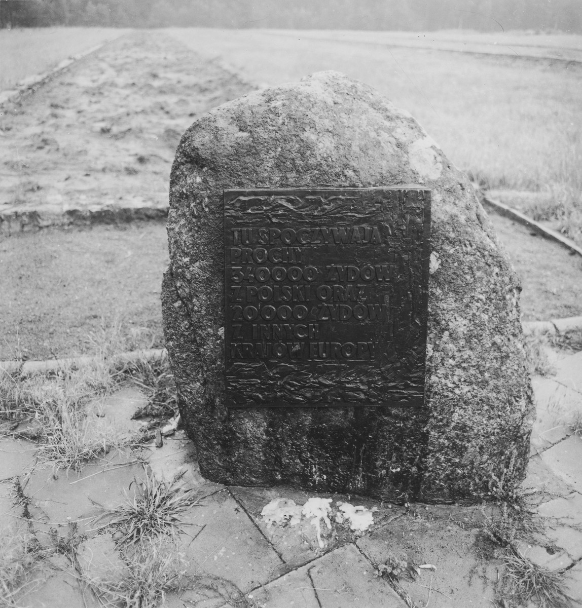 A stone memorial to the 340,000 Polish and 20,000 other Jews murdered in the Chelmno death camp.