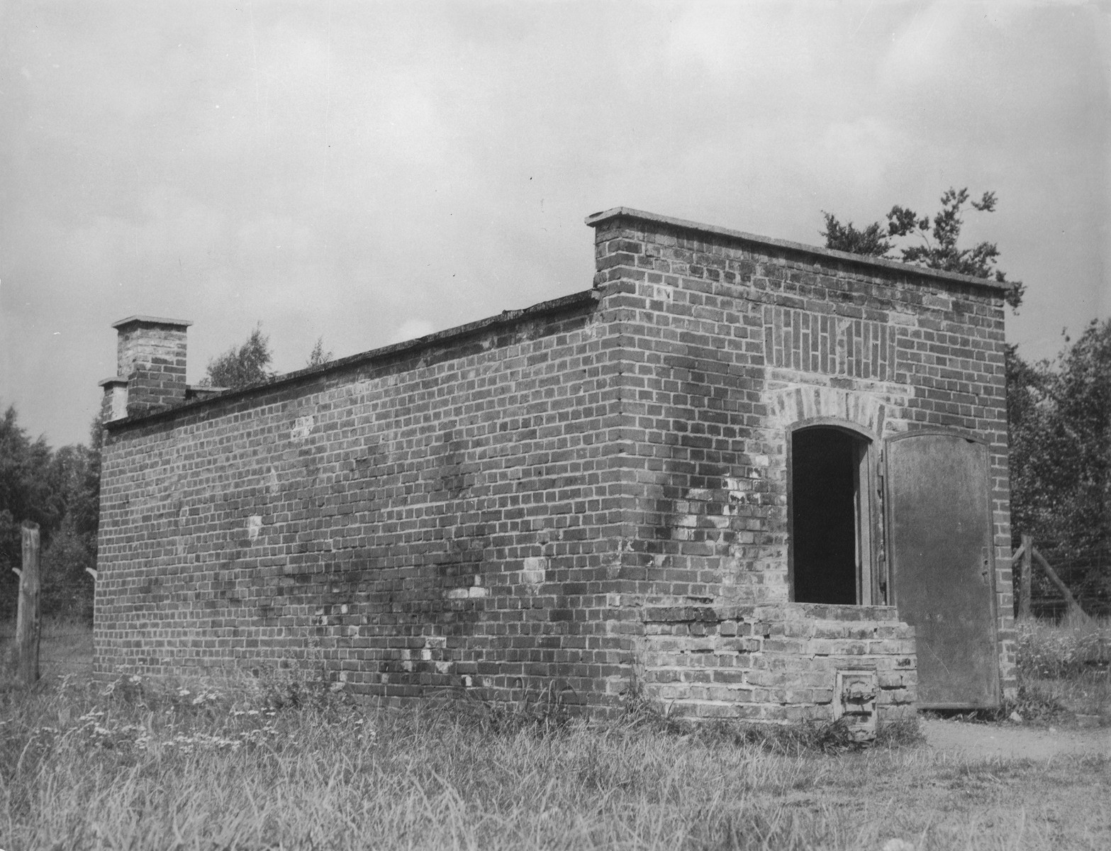 A postwar view of the gas chambers at Stutthof.