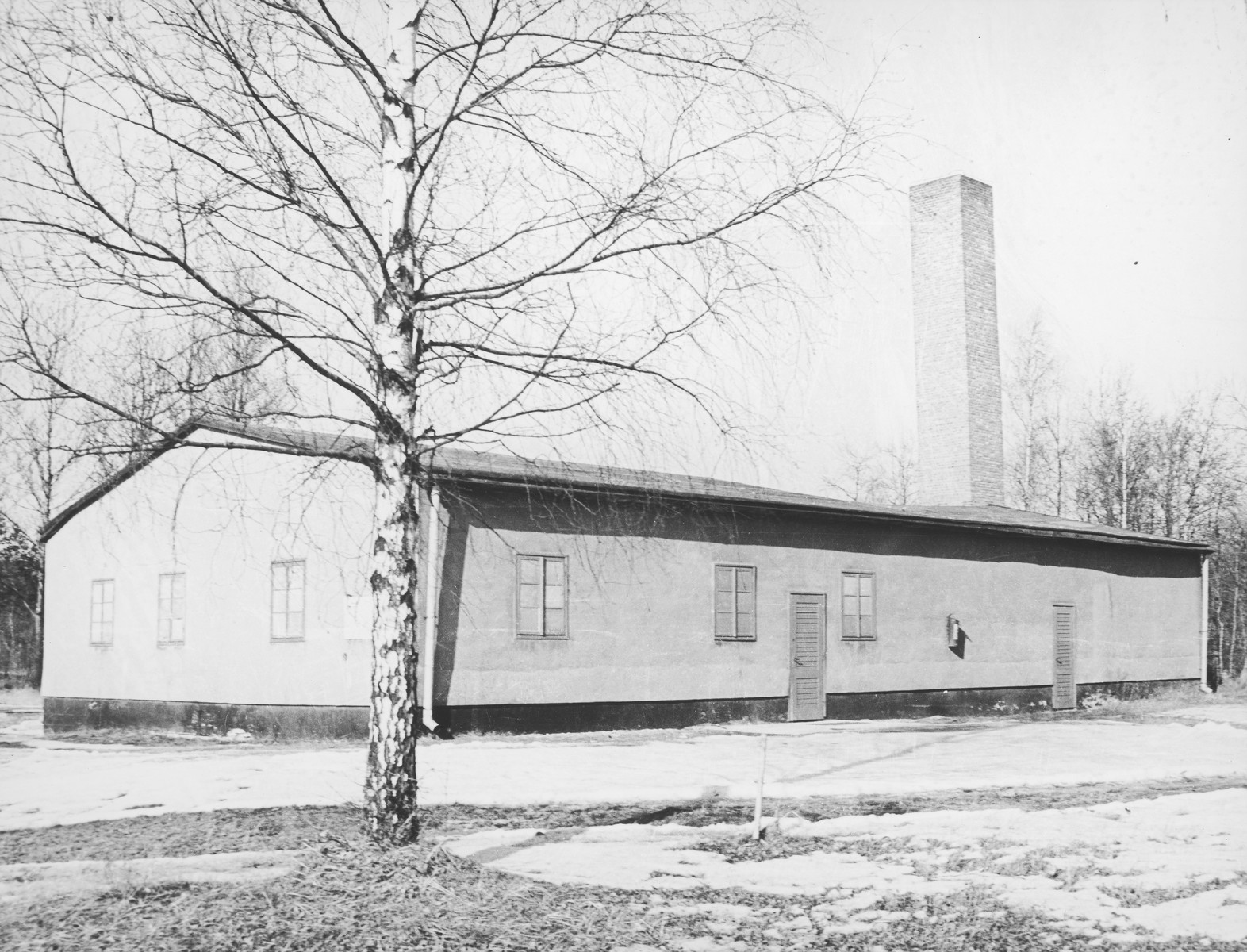 A contemporary photo of the crematorium at Stutthof.