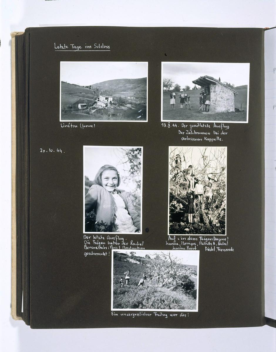 """Chateau La Hille: 1 September 1943-23 Oktober 1944,"" an album of children playing and of the landscape surrounding the Chateau La Hille.  The caption identifies the children as Rachel Borenzstein (middle left) and Jeanine, Monique. Pierrette A, Rachel, Jeanine Parrot, Freidel and Fernande (middle right)."