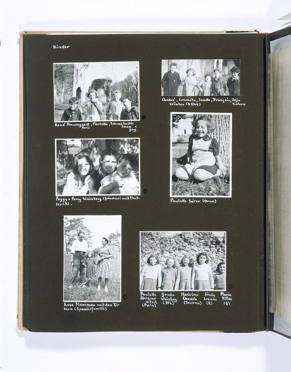 """Chateau La Hille: 1 September 1943-23 Oktober 1944,"" an album of children playing and of the landscape surrounding the Chateau La Hille.  The caption identifies the people as Rene Baumgardt, Pierette Schnee, Justin Eliass and Guy (top left); Andre, Conchita, Josette, Francois and JoJo (top right); Peggy and Percy Weinberg and their mother (middle left); Paulette Seror (middle right); Rose Marimon and the Spanier family (bottom left); Paulette Abramowitsch, Gonda Weinberg, Marie-Jose Chenin, Sinda Losada and Maria Villas (bottom right)."
