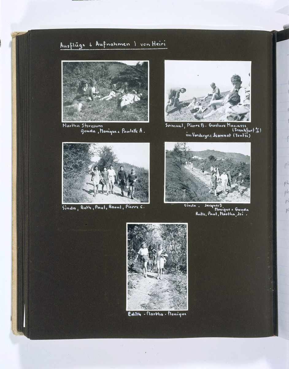 """Chateau La Hille: 1 September 1943-23 Oktober 1944,"" an album of children playing and of the landscape surrounding the Chateau La Hille.  The caption identifies the people as Martha Storosum, Gonda, Monique and Paulette A (top left), Samuel, Pierre B, Gustave Manasse, and Jeannot (top right); Sinda, Ruth, Paul, Raoul, and Pierre C (middle left); Sinda, Jacques D, Monique, Gonda, Ruth, Paul, Martha and Isi (middle right); Edith, Martha and Monique (bottom)."