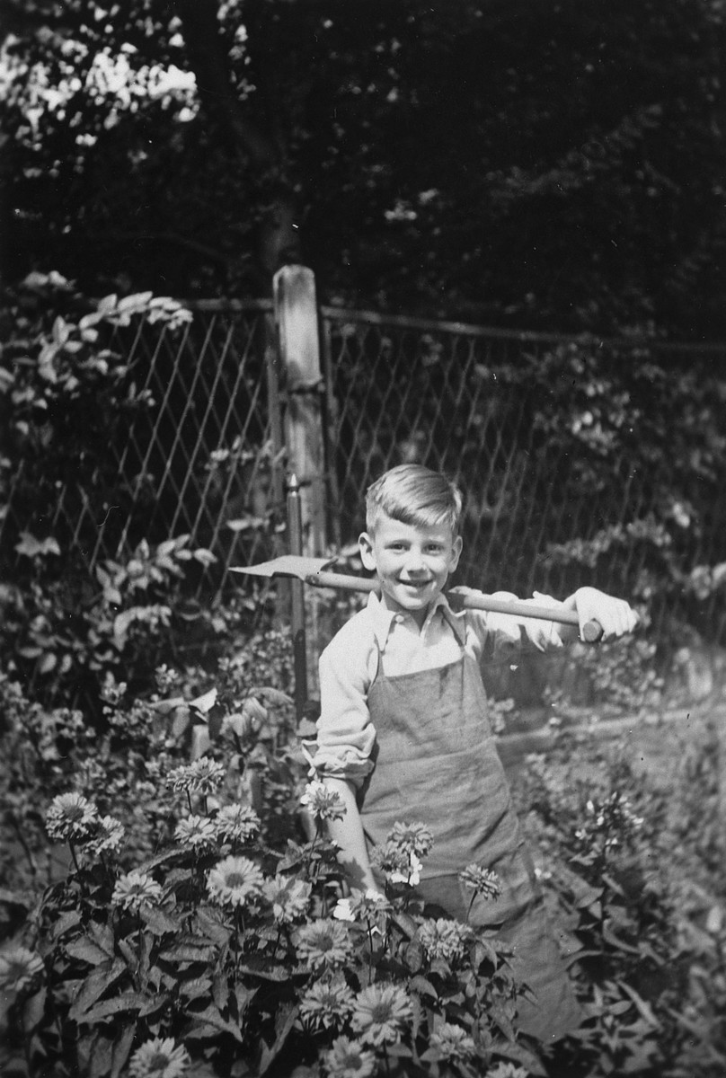 A young German-Jewish boy works in a garden.  Pictured is Rolf Blumenthal.