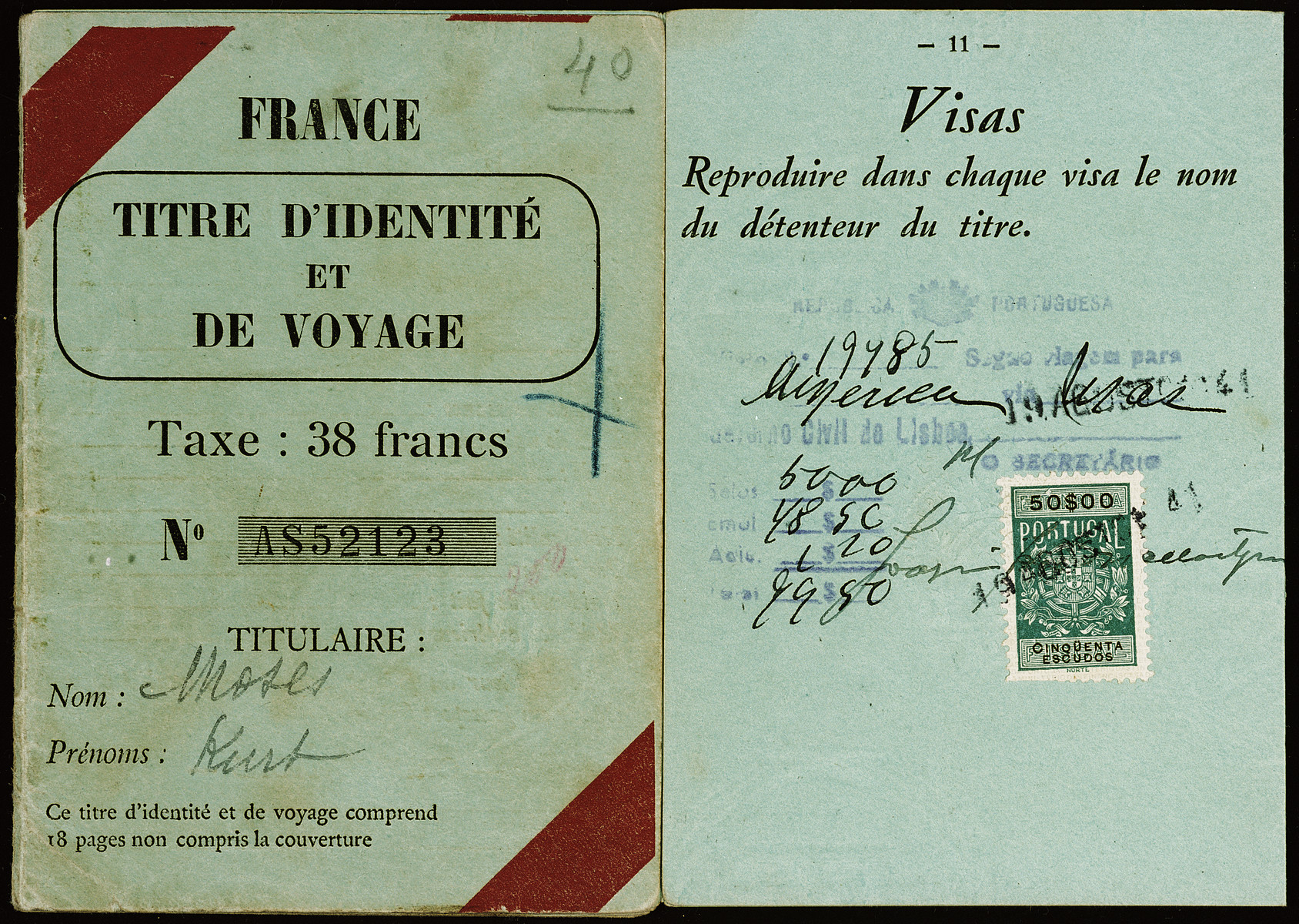 Passport issued to Kurt Moses in France prior to his voyage to the United States on board the Mouzinho.