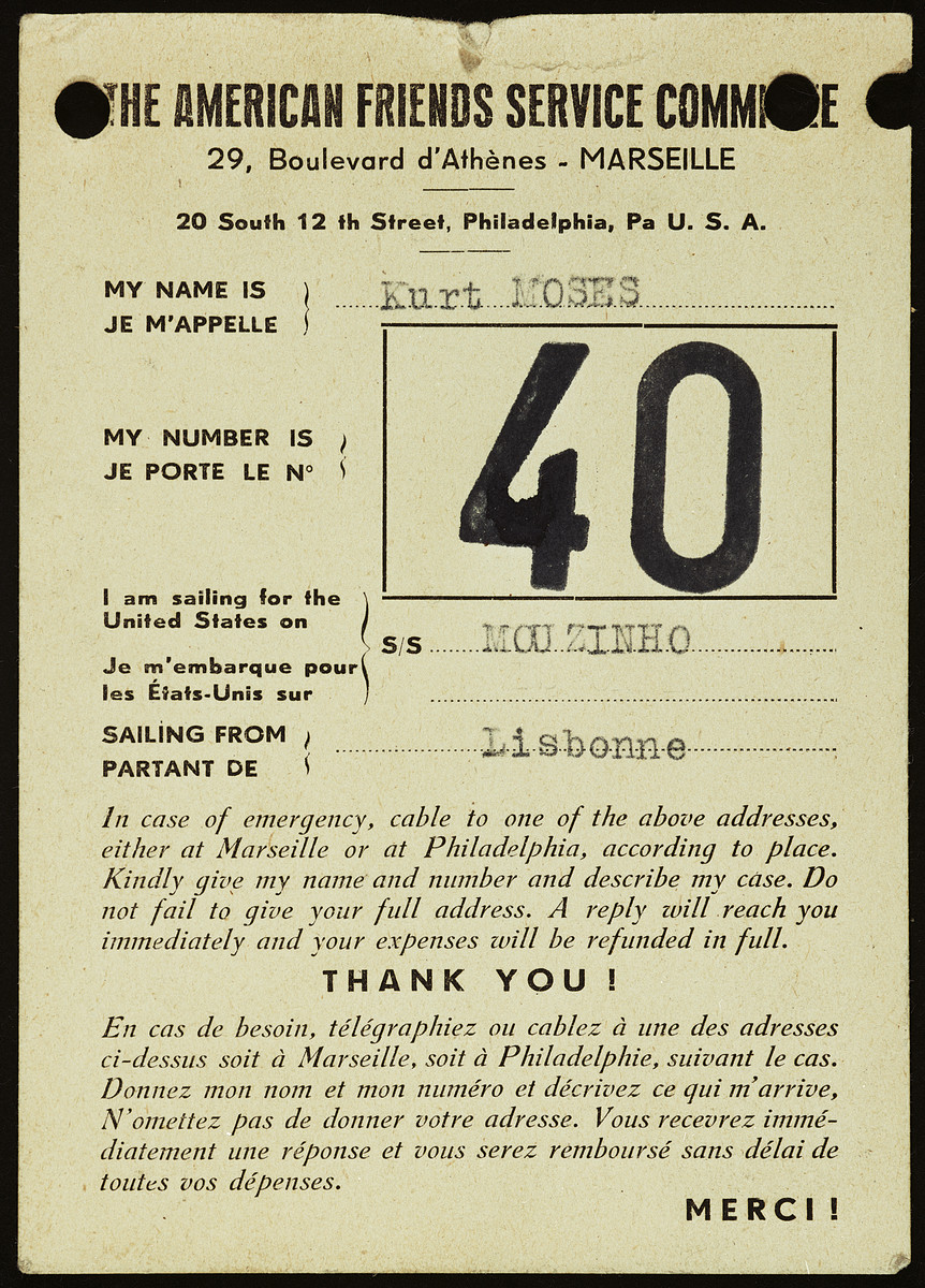 Identification tag issued to Kurt Moses by the American Friends Service Committee for his voyage to the United States on board the Mouzinho.