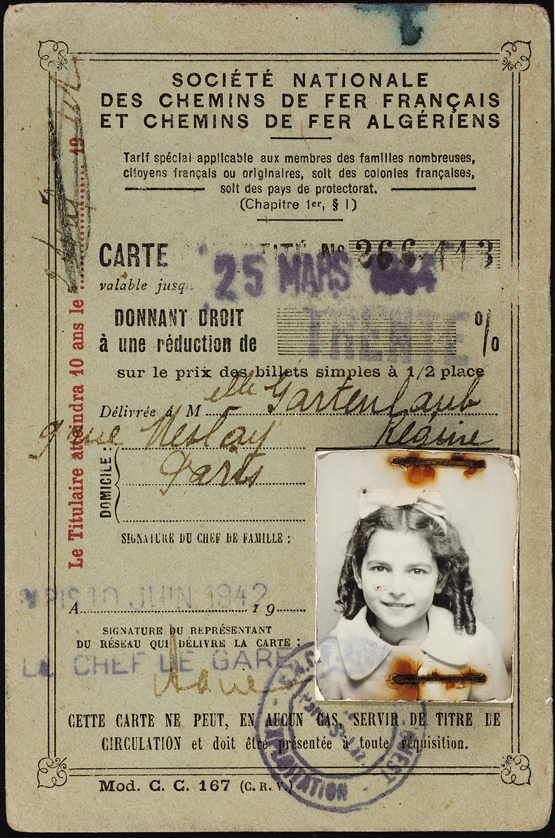 Transportation pass issued to Regine Gartenlaub under her real name one year before she was forced to go into hiding.
