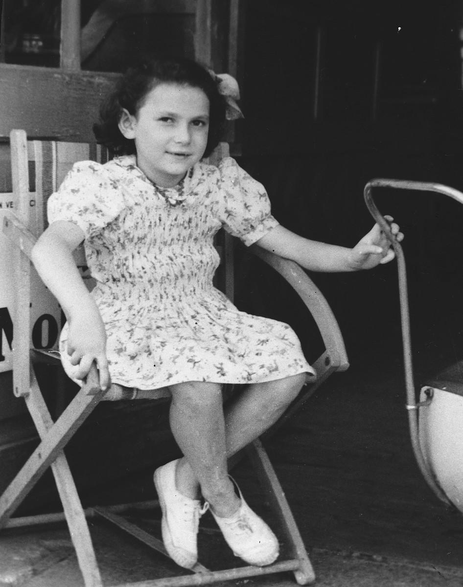 Close-up portrait of Dina Gartenlaub, a Jewish girl in hiding.