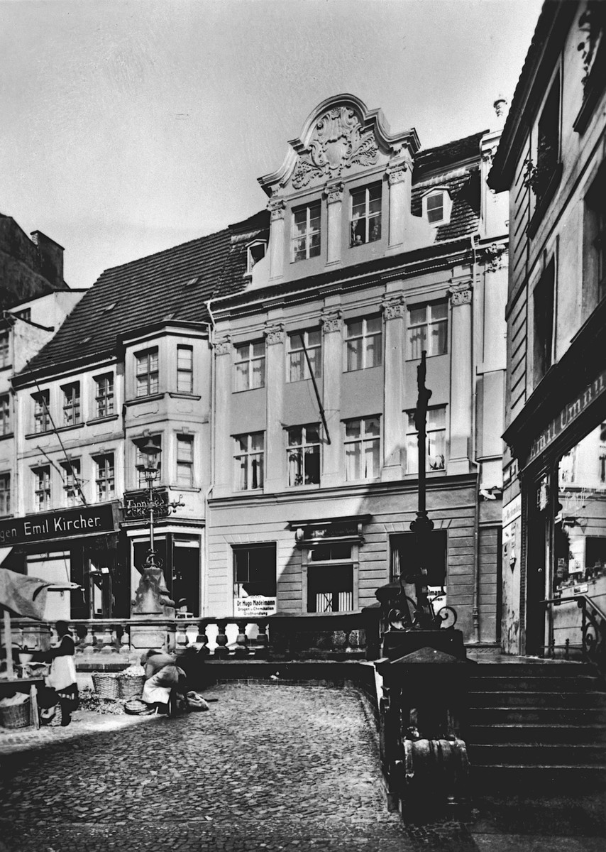 Exterior view of The Hof and Garnison Pharmacy in Stettin, Germany.    The Nadelmann family lived in the upper floors of the house.