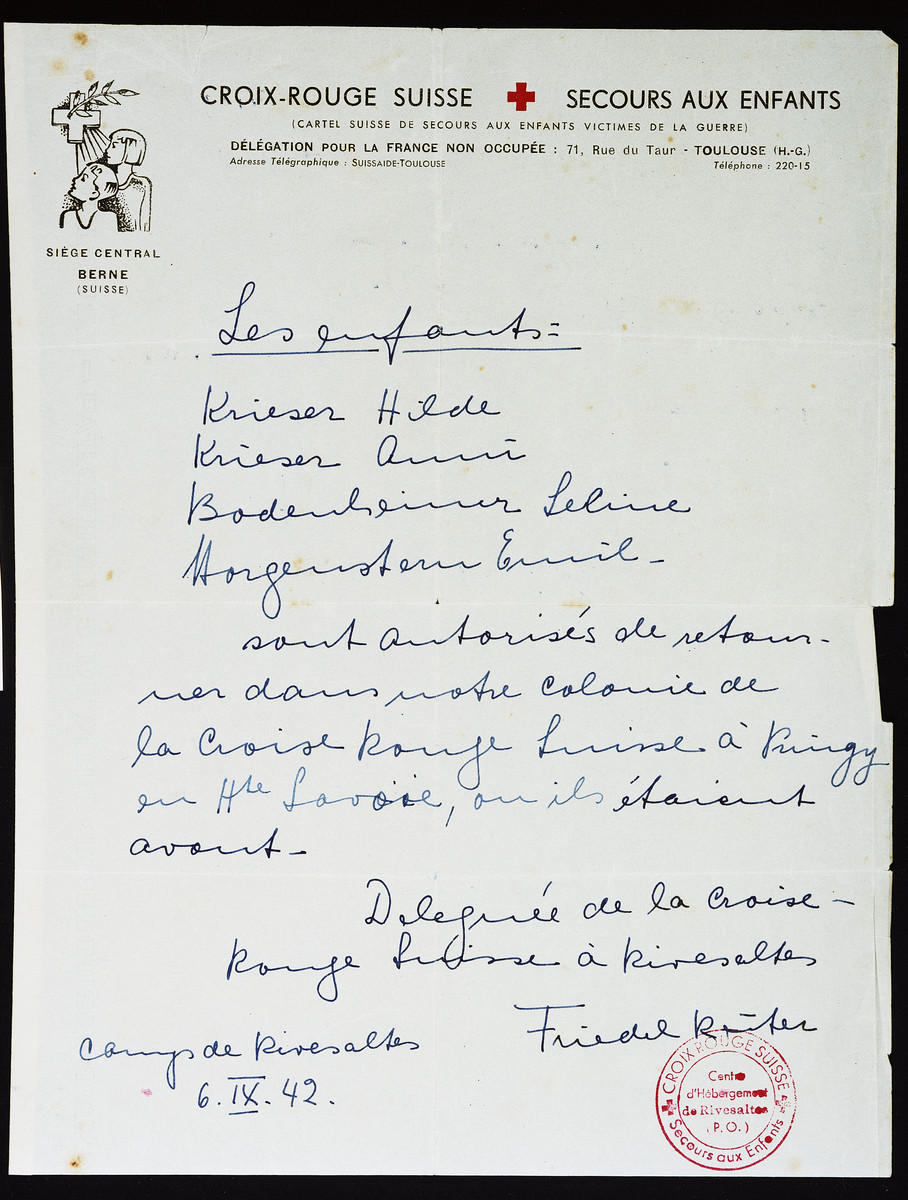 A list of names submitted by Secours Suisse aid worker, Friedel Reiter, authorizing four children to leave Rivesaltes for the Pringy children's home.