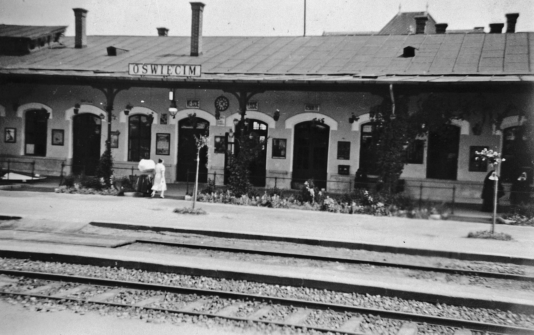 View of the train station in Oswiecim (Auschwitz), Poland before the war.