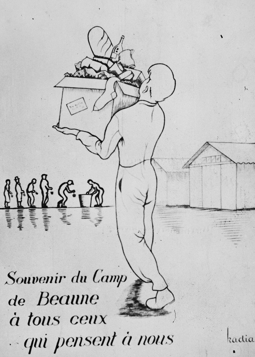 "A card decorated with an illustration of a prisoner carrying a box of belongings in the Beaune-la-Rolande internment camp.  The caption reads, ""A souvenir from the Beaune Camp for everyone who thinks of us."""
