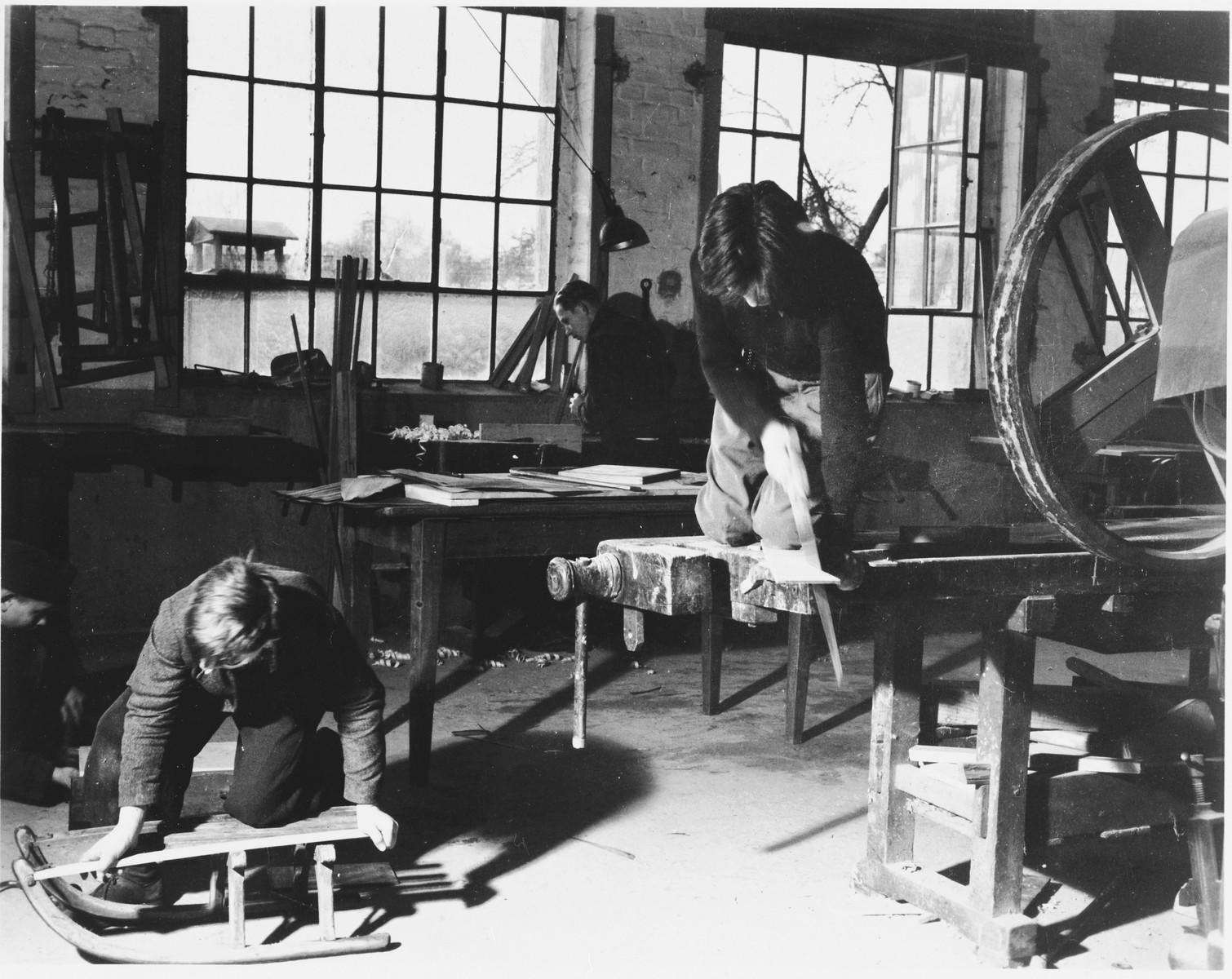 Jewish youth learn carpentry in a vocational school in either the Foehrenwald or Windsheim displaced persons' camp.