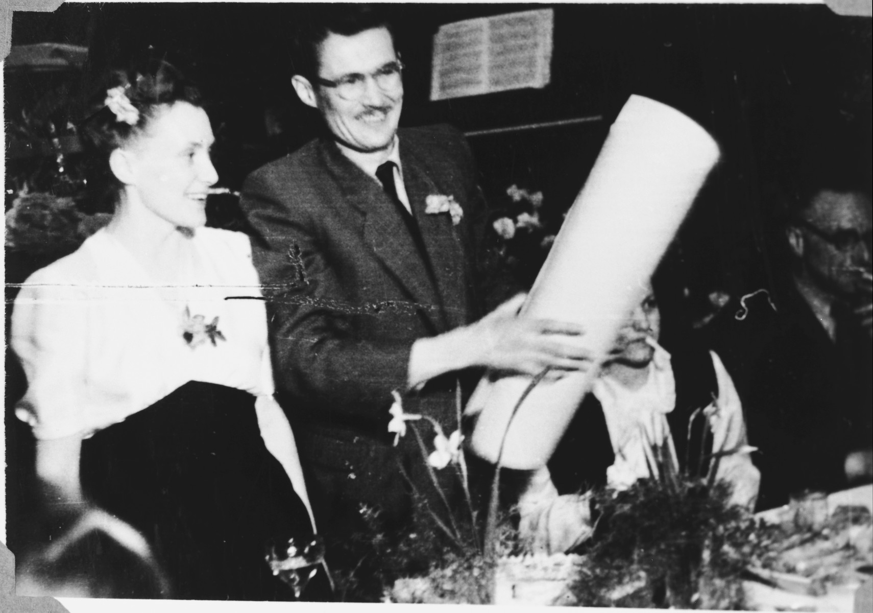 Relief workers, Marion and Tony Pritchard, celebrate their wedding in the Windsheim displaced persons' camp.