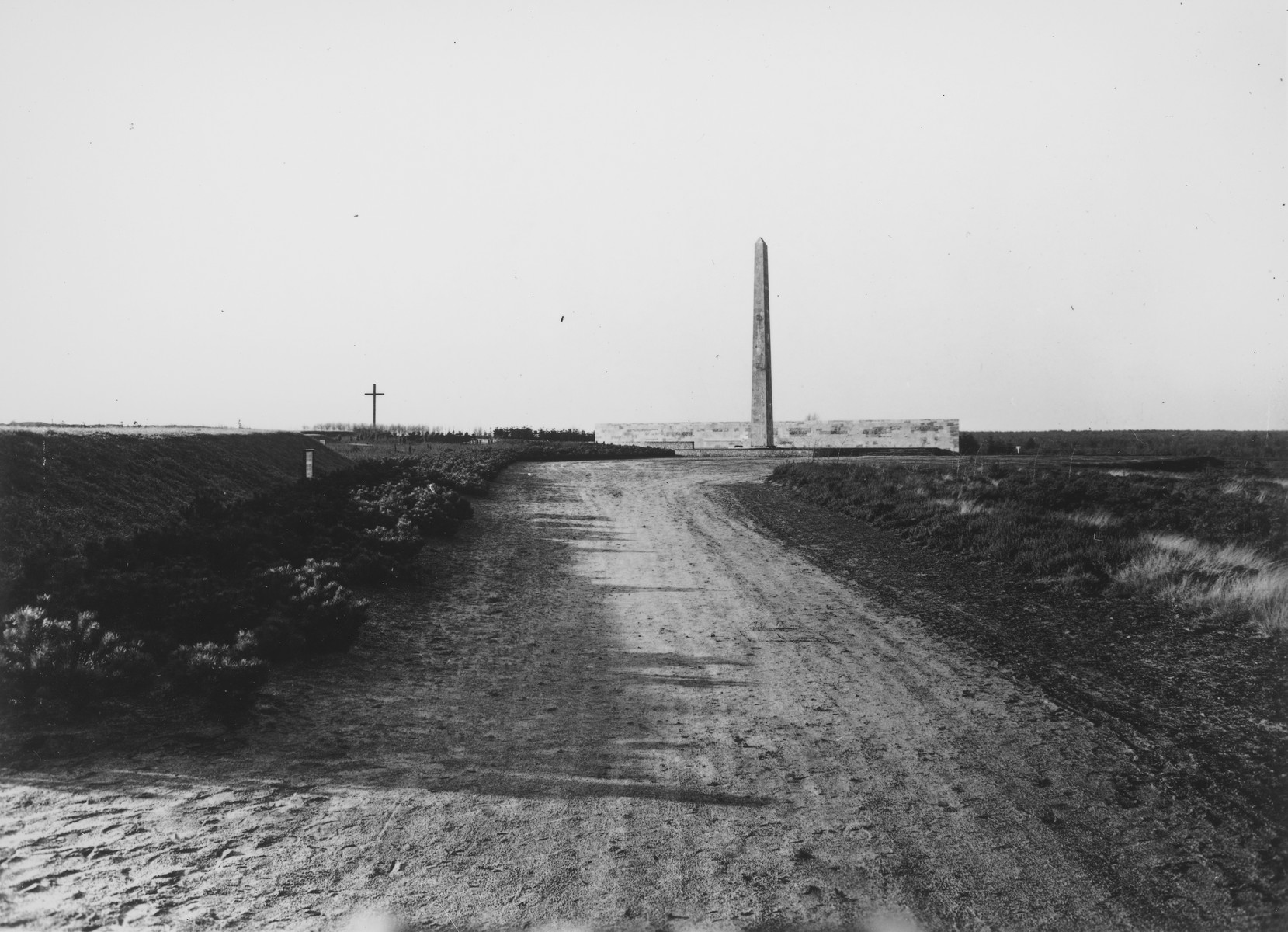 A memorial obelisk erected in memory of persons killed in Bergen-Belsen.