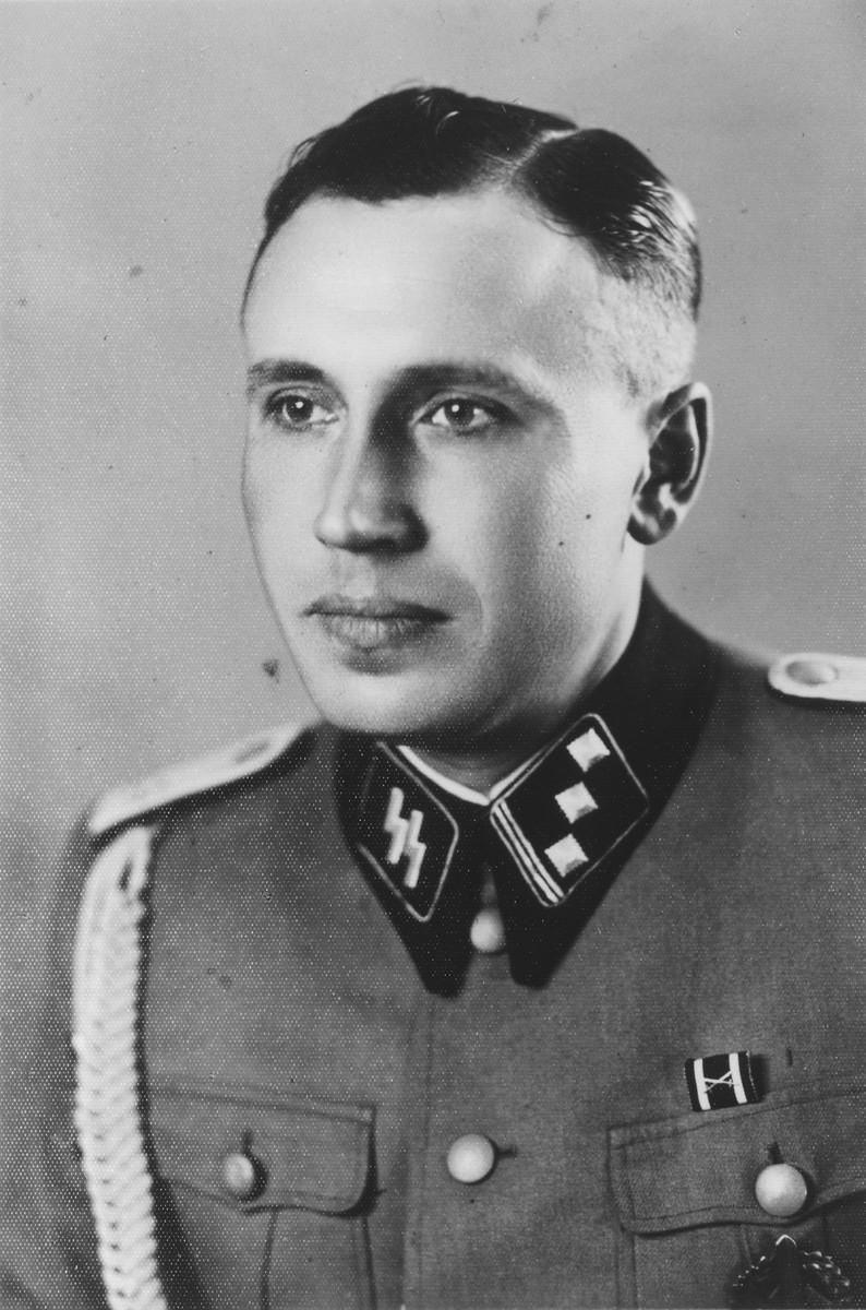 "Portrait of Auschwitz camp adjutant Karl Hoecker.   The original caption reads ""As SS Obersturmfuehrer 21.6.44"""