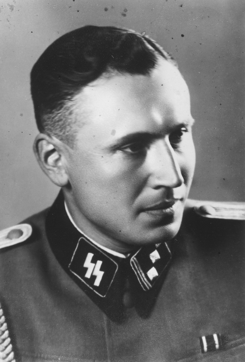 "Studio portrait of Karl Hoecker.   The original caption reads ""As SS Obersturmfuehrer 21.6.44"""