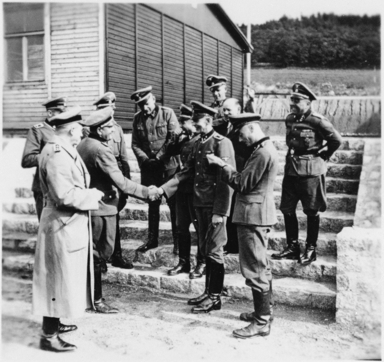 SS officers in Gross-Rosen bid farewell to SS platoon commander Hafer (who was responsible for building).