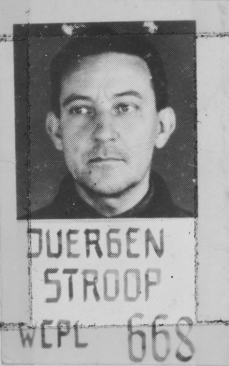 Mugshot of SS General Juergen Stroop, a defendant in the Superior Orders trial.
