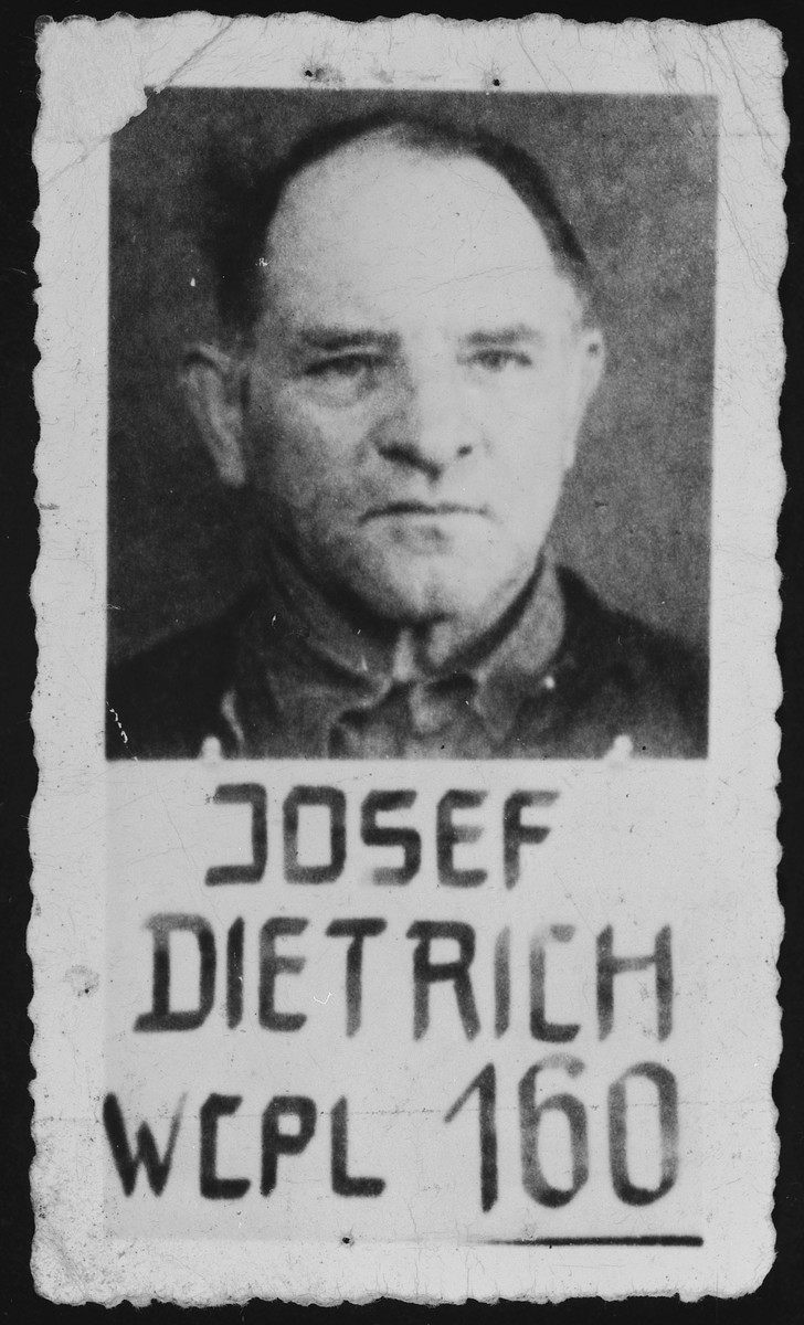 """Mugshot of General Josef (Sepp) Dietrich, a defendant in the Malmedy Atrocity trial.  Dietrich was  sentenced to life on the charge of """"offense against customs and ethics of war.""""  His sentence was later commuted to 25 years, and he was released in October 1955."""
